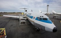 Friday, Feb. 26, 2016. The first model of the Boeing 727 that's taken 20 years to restore will now fly from Paine field to Boeing field where it will be on display at the Museum of Flight.